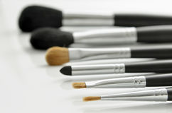 Makeup brushes on white Royalty Free Stock Images