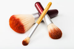 Makeup brushes on white Stock Image