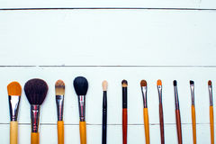Makeup brushes on a white background Stock Photography