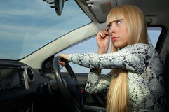 Makeup in car Stock Photos