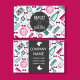 Makeup care cute design of business cards for beauty salon. Vector beauty salon beauty makeup care cute design of business cards for beauty salon Stock Photo