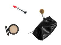 Makeup Case. Make up items isolated against a white background Royalty Free Stock Photo