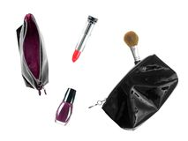 Makeup Case. Make up items isolated against a white background Royalty Free Stock Photography