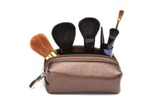 Makeup case with brushes Stock Photos