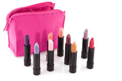 Makeup case with lipsticks Royalty Free Stock Photo