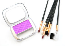 Makeup cheeks and makeup brush. Stock Photography