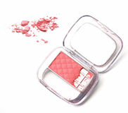 Makeup cheeks and makeup brush. Pink Cosmetic powder on white background Royalty Free Stock Images
