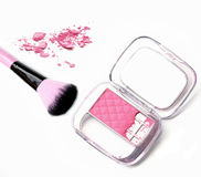 Makeup cheeks and makeup brush. Pink Cosmetic powder on white background Royalty Free Stock Image