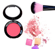 Makeup cheeks and makeup brush. Pink Cosmetic powder on white background Royalty Free Stock Photos