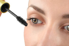 Makeup close-up. Eyebrow makeup, brush. Royalty Free Stock Photos