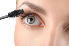 Makeup close-up. Eyebrow makeup, brush. Stock Photos