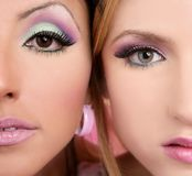 Makeup closeup macro two faces Royalty Free Stock Images