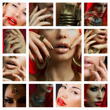 Makeup Collage. Beautiful young women with stylish bright make-up Royalty Free Stock Photos
