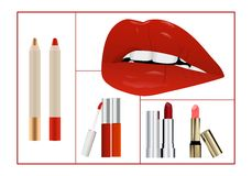 Makeup collage, cdr vector Royalty Free Stock Photos