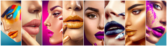 Makeup collage. Colorful lips, eyes, eyeshadows and nail art. Makeup collage. Beauty makeup artist ideas. Colorful lips, eyes, eyeshadows and nail art stock images