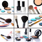 Makeup collage, eyeshadows, blusher,nail polish, brushes Stock Photo