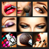Makeup Collage. Professional Make-up Details. Makeover stock images