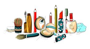 Makeup Collection Colorful Drawing Royalty Free Stock Photos