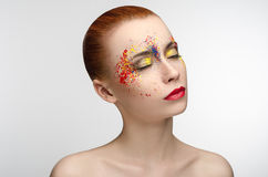 Makeup colored paint on the eyes Beauty Girl Royalty Free Stock Photos