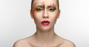 Makeup colored paint on the eyes Beauty Girl Royalty Free Stock Images