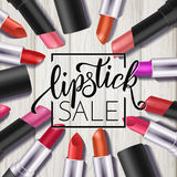 Makeup colorful lipstick set, catalog template. Hand drawn lettering, cosmetics background Royalty Free Stock Images