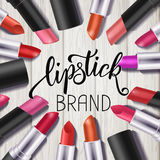 Makeup colorful lipstick set, catalog template. Hand drawn lettering, cosmetics background Stock Photo