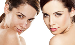 Before and after makeup. Comparison portrait of a woman without and with makeup Royalty Free Stock Photos