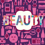 Makeup cosmetic and beauty silhouettes set icon background Stock Photography