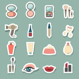 Makeup Cosmetic icons set Stock Photos