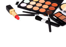 Makeup cosmetic products on isolated white background. Brush and makeup cosmetic products on isolated white background Royalty Free Stock Photos