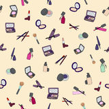 Makeup cosmetic seamless hand drawn color pattern. Vector royalty free illustration