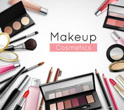 Makeup Cosmetics Accessories Realistic Composition Poster Royalty Free Stock Image