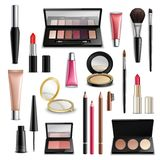 Makeup Cosmetics Accessories Realistic.Items Collection. Makeup cosmetics beauty case accessories realistic items collection with lip gloss compact powder and Stock Image