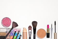 Bright holiday make-up essentials with free space for text Royalty Free Stock Images