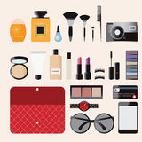 Makeup cosmetics bag with accessories. Royalty Free Stock Images