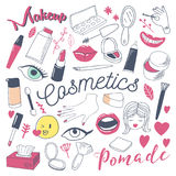 Makeup and Cosmetics Beauty Freehand Doodle. Hand Drawn Woman Fashion Elements Set. Vector illustration Stock Photography
