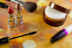 Makeup. Cosmetics different view from above on the background bokeh Royalty Free Stock Image