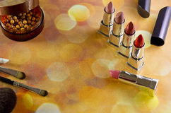 Makeup. Cosmetics different view from above on the background bokeh Royalty Free Stock Photo