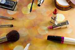 Makeup. Cosmetics different view from above on the background bokeh Stock Photo