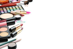Makeup cosmetics. Different makeup cosmetics on white background Stock Photo