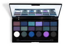 Makeup cosmetics essentials frame black background, copy space Royalty Free Stock Photos