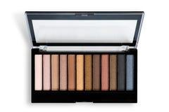 Makeup cosmetics essentials frame black background, copy space Stock Image