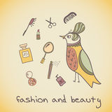 Makeup cosmetics and fashion beautiful bird Stock Photography