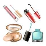 Makeup cosmetics make-up accessory vector icons nail polish tone powder and mascara. Makeup cosmetics of mascara eyeliner, nail polish bottle, tone powder box Royalty Free Stock Photos