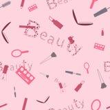 Makeup Cosmetics Pattern for Beauties Stock Image