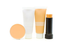 Makeup cosmetics -  powder, foundation, tone cream. Makeup cosmetics -  face powder, foundation, tone cream and concealer Stock Photo