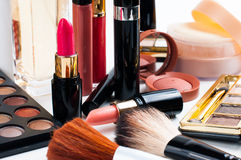 Makeup and cosmetics set Stock Photos