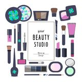 Flat Icons Cosmetics and Makeup vector illustration