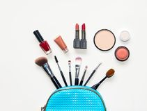 Makeup cosmetics tools background and beauty cosmetics, products and facial cosmetics package Stock Images