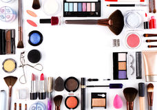 Makeup cosmetics tools and essentials background, copy space Stock Image